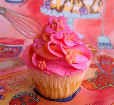 orang, pink cakes, decorated cookies, flower cupcakes, beauty, pink cupcakes, little flowers, cake recipes, bright colors