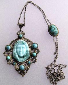 Blue glass Egyptian Revival pendant necklace.  Photograph Gillian Horsup. egyptian jewelri, egyptian reviv, pendant necklac, glasses, blue glass, metal, reviv pendant, gillian horsup, blues