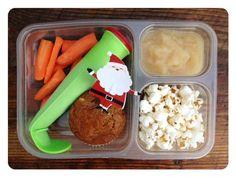 Carrots, frozen yogurt smoothie pop, whole spelt pumpkin muffin, stove-top organic popcorn, and store bought applesauce