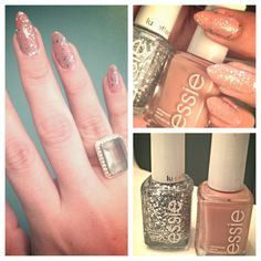Nude nails with glitter . Fall nails 2013 essie nails . Stiletto nails , pointy nails , claw nails . Cute mani