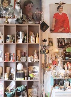 dottie angel: a bit of smashing rubbish... Love the little cabinet of treasures.