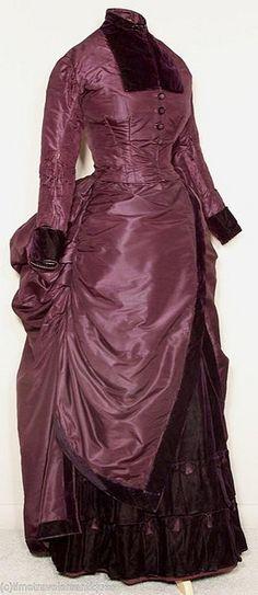 1880's taffeta and velvet walking ensemble.