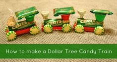 How to make a Dollar Tree Candy Train from http://FrugalLivingNW.com holiday, dollar tree, candies, dollar crafts, candy train, christma, kid, tree candi, candi train