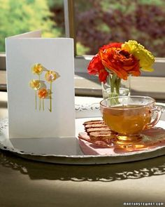 Make a Tissue-Paper Flower Card.  Thanks Martha Stewart!  #DIY