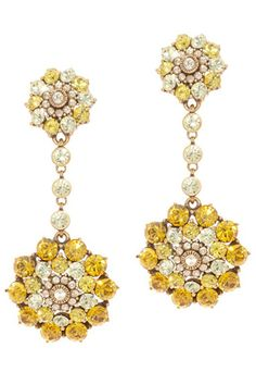 Oscar de la Renta Daffodil Crystal Earrings, $197.50, available at Paire.