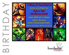 Superhero Invitations, Superhero Birthday, Marvel's Batman, Hulk, Iron Man, Flash, Wolverine, Green Lantern, Spiderman, Captain America. $10.00, via Etsy.