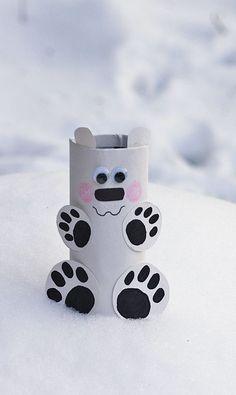 Cardboard Tube Polar Bear - Crafts by Amanda #kidscraft #preschool #polarbear