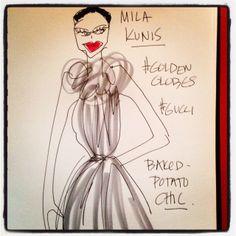 #MilaKunis #goldenglobes #gucci #illustration @blankstareblink