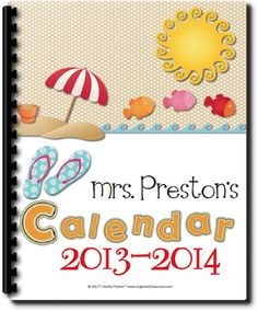 2013-2014 School Year Beach Theme Personal Planning Calendar!  Fun fun fun! This calendar page pack is over 200 pages and has been updated to include files from January 2013-June 2014! This set is super fun and includes lots of bright reds, oranges, blues, and pinks with super cute summer images to match! It DOES include form fields so you can even use it completely offline and not even print if you choose!  Of course you do have the option to print, bind, and write in. Get organized in style! $