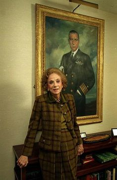 Philanthropist Brooke Astor stands before a portrait of her late husband, Vincent Astor, in her Park Avenue apartment in New York City, March 15, 1992. Astor celebrates her 90th birthday that month.