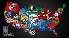 NBA Map- framed to hang in kids room