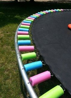 Put old pool noodles on trampoline to keep kids away from metal.