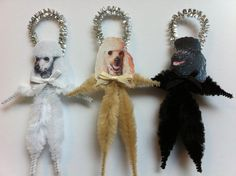 POODLE puppy dogs vintage style CHENILLE by StanleyAndStewart, $12.00