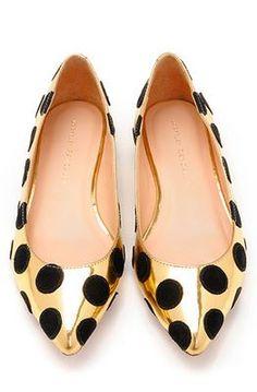 Gold and black polka dot flats