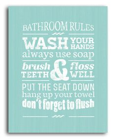 Take a look at this Green Bathroom Rules Wall Art by Laila's on #zulily today!