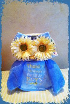 Blue Owl Diaper Cake Owl Baby Shower Blue by TeensyTinyBabyGifts, $40.00