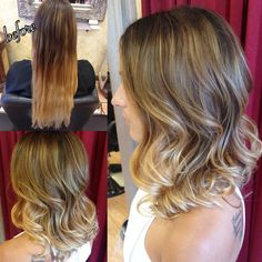 Love this before and after! Seamless balayage ombré and long angled bob! Pretty natural brown to brighter blonde. Awesome hair transformation! Hair by Rachel @ Sara Fraraccio Salon