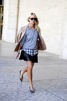 sweater, fashion, leather skirts, preppy, outfit, street styles, plaid shirts, flats, shoe
