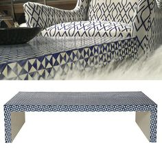 TOP PICK by Beth Dotolo & Carolina V Gentry of http://pulpdesignstudios.com - Bernhardt Interiors – Fall 2013 Ankara Cocktail Table – Ivory colour, bone and navy resin– Showroom: IHFC D601 #HPMKT #Fall #2013