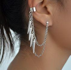 dangling spikes earcuff