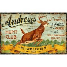 Hunt Club Vintage Sign - Personalized | Custom Cabin Signs | Antlers Etc - Rustic Cabin, Lodge & Hunting Decor