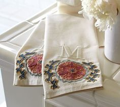 Suzani Embroidered Guest Towels, Set of 2 #potterybarn