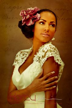 A simple flower. What a beauty.   African American Bride, Black Bride. african americans, pink flowers, natural makeup, hair flowers, sleev, african american brides, flower power, accessories, black brides