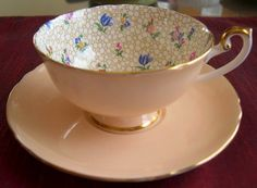 Shelley Fine Bone China  BUBBLE FLORAL CHINTZ cup & saucer via Etsy