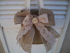 Rustic Country Woodland Burlap Lace Wood Farm Wedding Flowergirl Basket for Fall Summertime Wedding. $15.95, via Etsy.