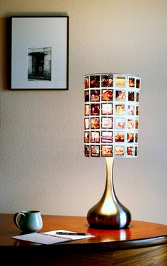Lampshade made from vintage slides with modern brushed stainless droplet base