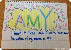 Give the kids place value blocks to make their name... have them calculate the value of their name. I am so doing this in our math journals this week! - Step into 2nd Grade with Mrs. Lemons: More Mudge and Place Value!