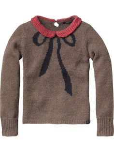Mix wool quality pull with contrasting collar