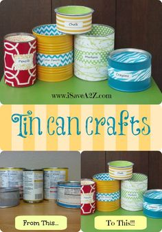 Tin Can Crafts that YOU can do!!!  You don't have to be crafty for this one!  EASY-PEASY!