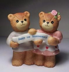 Lucy Rigg Enesco - Happy 1st Anniversary - Teddy Bear Figurine - 1986