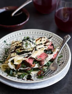 Steak, Spinach and Mushroom Crepes with Balsamic Glaze. from @Half Baked Harvest