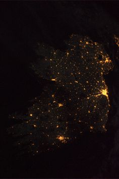Ireland from the air, at night.