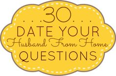 "Great idea for a fun night at home. ""Spice Up Your Marriage! 30 Date Your Husband From Home Questions"""
