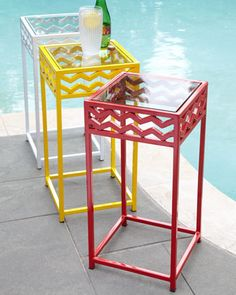 Chevron Outdoor Accent Table at Horchow.