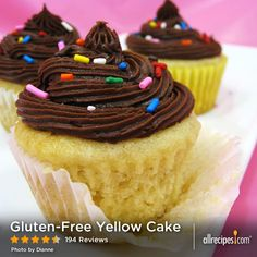 "Gluten-Free Yellow Cake | ""Basic and easy, and very versatile. Layer with white or chocolate frosting, strawberries and whipped cream, etc. Make sure your baking powder is gluten-free."""