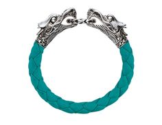 John Hardy's Naga silver woven-leather dragon bracelet in turquoise.