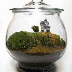 "Tim Burton's ""Beetlejuice"", house on the hill terrarium."