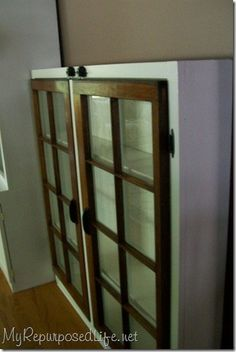 old windows into display case!