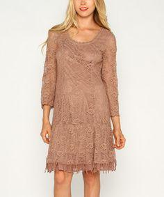 Look at this #zulilyfind! Mocha Floral Lace A-Line Dress #zulilyfinds
