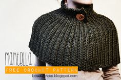 A crochet cape that looks like a knitted cape, with pattern instructions.