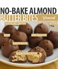 Need dessert, quick? These no-bake almond butter bites are about as easy as it gets—just mix the ingredients, form into balls and freeze.