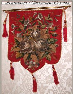 "Victorian Beaded Needlepoint ""Cabbage Roses"" Fire Screen"