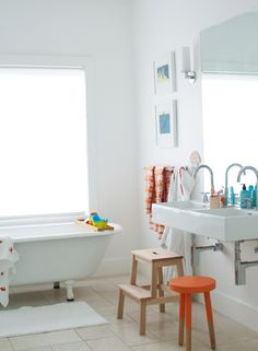 Family bathroom. From the Living With Kids Home Tour featuring Meta Coleman.