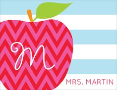 Personalized Chevron Apple Foldover Note Cards