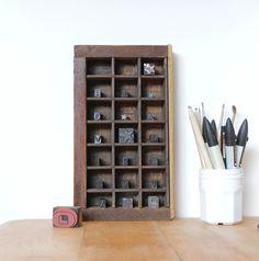 Petit casier d'imprimerie américain leshappyvintage.fr