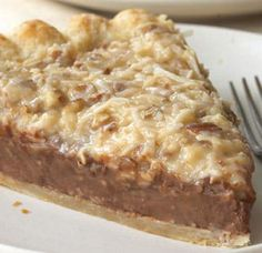 German Chocolate Pie   Spoonful. My favorite cake in a pie....hmmmmm